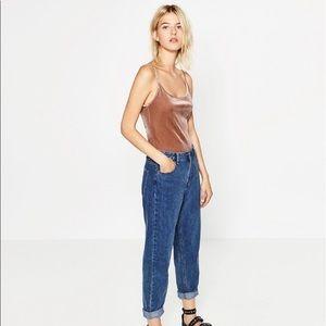 Zara Pink Velvet Bodysuit Scoop Back Velour NEW S